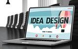 Landing Page of Laptop with Idea Design Concept. 3D Render.