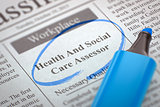 Now Hiring Health And Social Care Assessor. 3D Render.