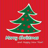 Merry Christmas postcard with fir