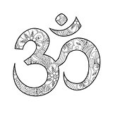 Om, or Aum sign ornated in henna tatoo mehendi style