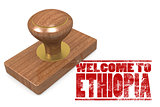 Red rubber stamp with welcome to Ethiopia