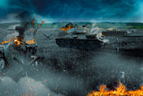Tank battle in the burned-out field
