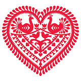 Polish folk art pattern for Valentine's Day - Wycinanki Kurpiowskie (Kurpie Papercuts)