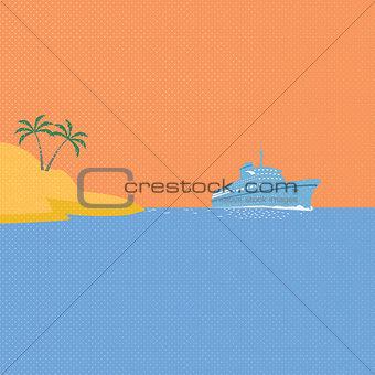 Cruise ship, tropical island and blue ocean