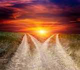 fork roads in steppe on sunset sky background