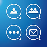 Chat or Message Flat Icons vector