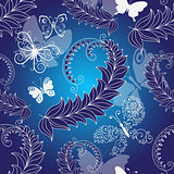 Floral dark blue seamless spring pattern