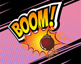 Boom. Vector Retro Comic Speech Bubble, Cartoon Comics Template. Mock-up of Book Design Elements. Sound Effects, bomb, Colored Halftone Background