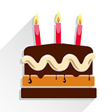 Birthday cake flat icon with long shadow