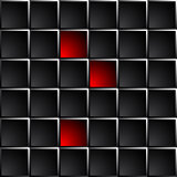 Industrial and technological dark background polished black squares.