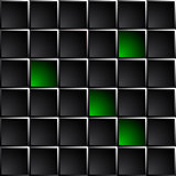 Technological dark background polished black and green squares.