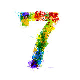 Color Paint Splashes. Gradient Vector Font Symbols. Watercolor Splash Designer Decoration Alphabet. Ink Number Isolated on a White Background