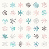 Colorful Winter Snow Flakes Doodles. Vector Illustration