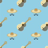 Mexican Guitar Seamless Pattern