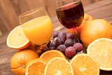 fresh orange and grape juice and fruits