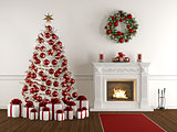 Christmas interior with classic fireplace