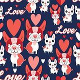 Pattern with funny puppies in love