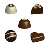 Set of chocolate pralines in 3D