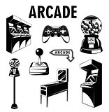 Arcade room. Video game set. Gaming machine. Computer Video Game Joystick and videopad. Gumball machine. Isolated Elements Collection