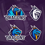 Creative dragon logo template. Sport mascot design. College league insignia, Asian beast sign, School team vector