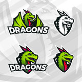 Dragon logo template. Sport mascot design. College league insignia, Asian beast sign, Dragons illustration, School team vector.