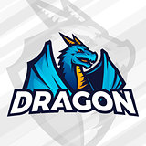 Dragon logo concept. Sport mascot design. Asian beast sign, School team vector.