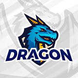 Dragon on shield sport mascot. Football or baseball patch concept. College league insignia, School team vector