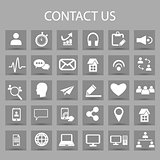 Vector flat icons set and graphic design elements. Illustration with contact us outline symbols.