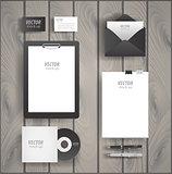 Premium corporate identity template set. Business stationery mock-up with logo . of envelope, card, folder, etc. Vector illustration.