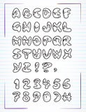 doodle alphabet drawn on the page notebook. Vector