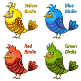 Colorful Funny Birds Set