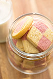 colored butter biscuits in jar
