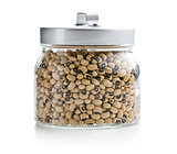 uncooked beans in jar
