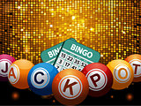 Bingo balls jackpot and cards over disco wall