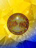 Disco ball over star burst and geometric background