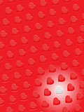 Red 3D hearts and one white on red background