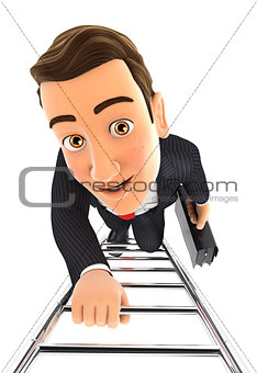3d businessman climbing up the ladder