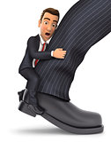 3d businessman clinging to leg