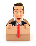 3d businessman coming out of the box