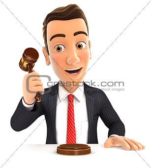 3d businessman hitting gavel