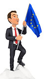3d businessman holding european flag on top of mountain