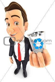 3d businessman holding trash can icon