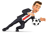3d businessman stopping soccer ball