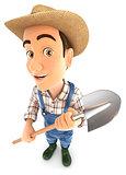 3d farmer holding a shovel