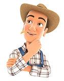 3d farmer thinking