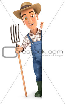 3d farmer with fork behind blank wall