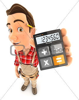 3d handyman holding calculator