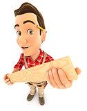3d handyman holding wooden plank