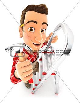 3d handyman on stepladder with claw hammer