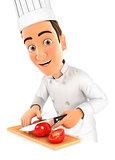 3d head chef cutting a tomato